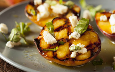 Grilled Peaches with Goat Cheese and Sugared Pinenuts